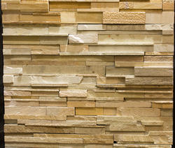 Teak Strip Pattern Wall Cladding