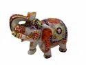 Embossed Work White Marble Elephant Statue For Interior Decor