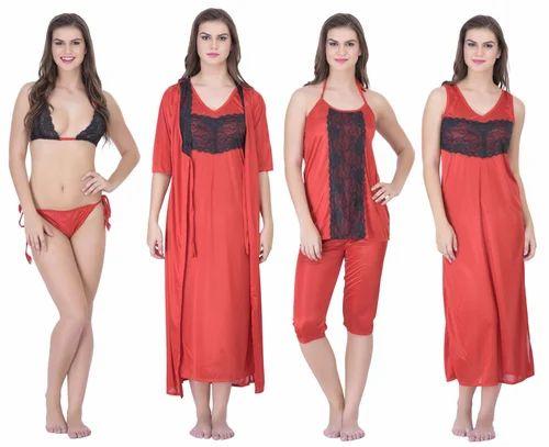 f519a0f064 Satin Plain Nightwear Set Of 4pc