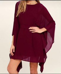 Western Plain Ladies Maroon Chiffon Dress