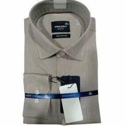 John Navy Button Men Gray Formal Shirt, Handwash