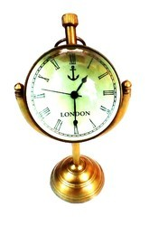 Tora Brass 2 Moon Table Clock