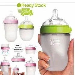 Silver Silicone Baby Milk Silicone Feeding Bottle, Capacity: 150mL