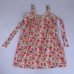 Casual Wear Kids Dress Beautiful Hand Made Soft Cotton Stitched Baby Frock, Medium