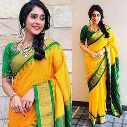 Banarasi Silk Zardozi Work Ladies Silk Saree, 6 m (with blouse piece)