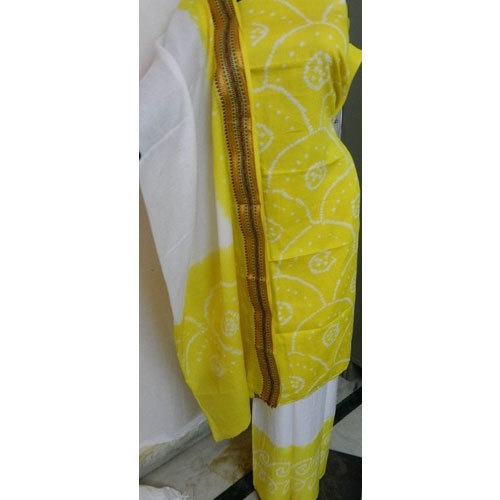 Cotton Yellow Bandhani Dupatta