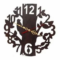 Hans Art Brown Carved Wooden Wall Clock, For Office, Size: 12x12 Inch