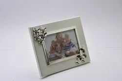 Enameled Butterfly Silver-Plated Photo Frame on Wooden Base