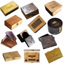 Laser Engraved Custom Wooden Packaging Gift Box Custom Size Shape