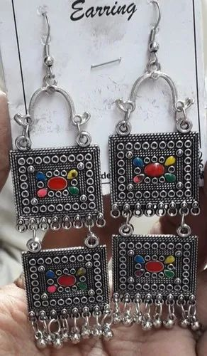 GKM HANDICRAFT Siliver Oxidized Earrings