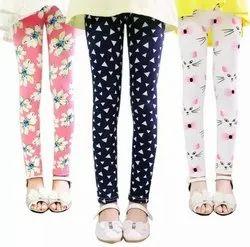 Multicolor Lycra Cotton Kids Girls Pants Flower Print Skinny Pencil Pants Leggings