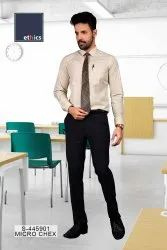 Beige Micro Chex Formal Uniform Unstitched Shirt & Pant for Corporate Office S-445901