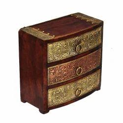 Rawsome shack 3 Drawer Wooden Brass Work Box