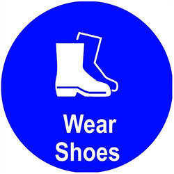Acrylic Blue Wear Safety Shoes Sign Board, Shape: Square