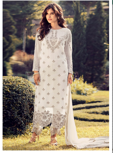 4d9513c27fe7 Festival Off White 23570 Faux Georgette Embroidered Straight Cut Salwar  Kameez