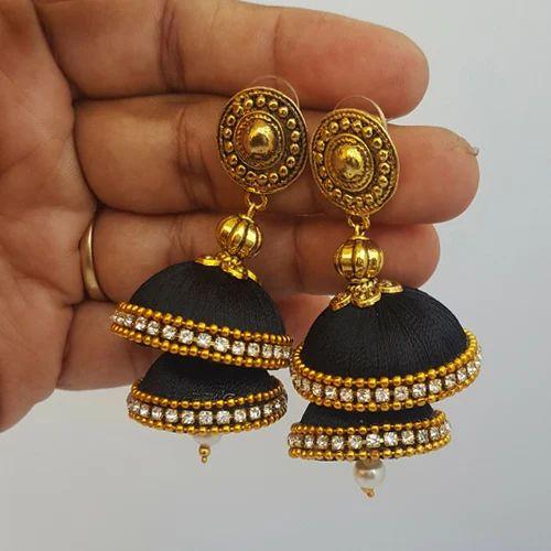 How to make jhumka earrings with silk thread