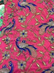 Peacock Embroidery Cotton Fabric