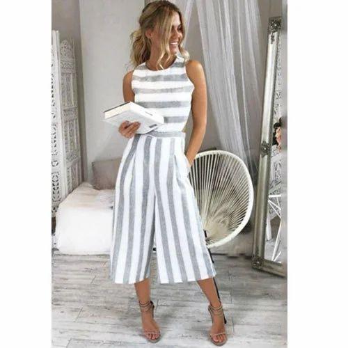879a7f46dcc Ladies White   Grey Designer Striped Jumpsuit