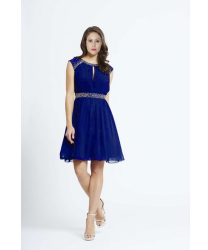 Georgette Cocktail Dress In Royal Blue