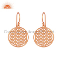 Rose Gold Plated Indian Filigree Design Plain Silver Earrings