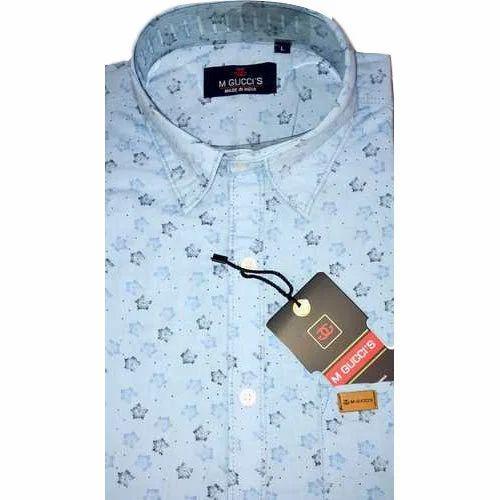 7209587fb1b Regular Fit Full Sleeve Mens Linen Printed Shirt