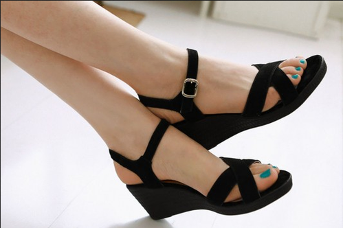 Black Women Style Of Wedge, Size: 35
