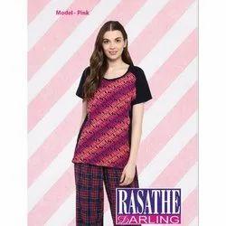 Full Length Cotton Ladies Designer Night Suit, Packaging Type: Packet