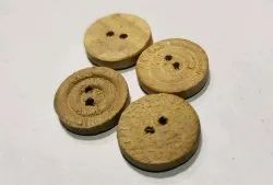 Brown Round 24 Line Wooden Button For Garments, Packaging Type: Packet