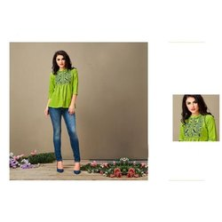 3/4th Sleeve Ladies Casual Cotton Embroidered Top, Wash Care: Machine wash