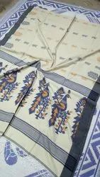 Khadi Sarees With Handwoven Thread Embroidery Work