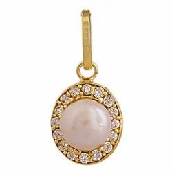 Oval Gold Plated Pearl/Moti Pendant