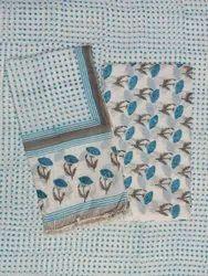 Sky Blue Polka Dot Hand Block Print Cotton Fabric Suit Set
