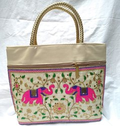 Multicolor Poly Dupion Silk Sindhi Embroidery Hand Bag