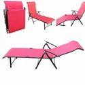 Folding Pool Lounger - Metal - Red