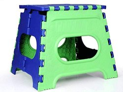 Plastic Folding Stool, 12 Inch (Green And Blue)