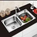 Stainless Steel Oval Double Bowl Kitchen Sink, Size - 45