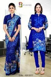 Blue Italian Crepe Uniform Saree Kurti Combo