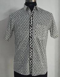 Shirt Mens Hand Block Printed  Cotton Fabric Print Indian