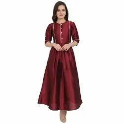 Ethnic Party Wear Ladies Silk Gown, Size: M to XXL