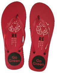 Breezy Ladies Printed Red Slipper, Size: 5 to 8