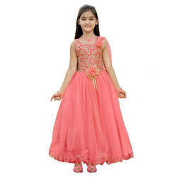Gajari Pink Party Wear Baby Girl Gown, Packaging Type: Packet ,Size: 16 To 24