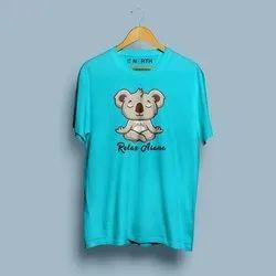 Hosiery Round Men Casual Wear Printed T Shirt