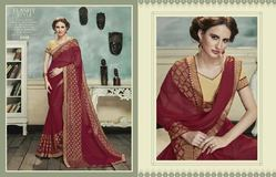 Red Color Partywear Brasso Jacquard Saree