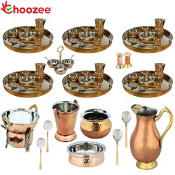 Choozee - Set of 6, Stainless Steel Copper Thali Set with Serveware