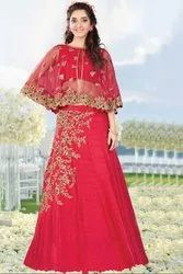 Crimson Red Designer Skirt Choli With Capelet