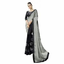 Grey Colored Chiffon Georgette Party Wear Saree