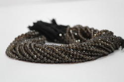 Natural Smoky Quartz Faceted Round Ball Beads
