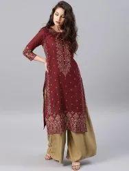 Casual Wear Regular Designer Printed Rayon Kurti, Size: S-XXL, Handwash