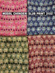 Modal Chanderi Slub Printed Fabric