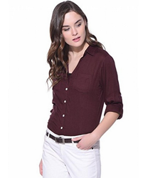 Red Purys Solid Rayon Shirt
